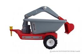 Anhänger mit Baggerarm - für Babyrutscher - rot DDR Kinderfahrzeug - 1