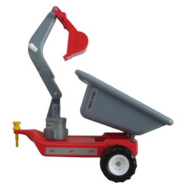Anhänger mit Baggerarm - für Babyrutscher - rot DDR Kinderfahrzeug - 2